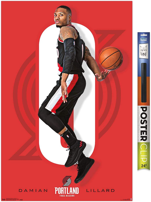 "Trends International NBA Portland Trail Blazer-Damian Lillard Clip Wall Poster, 22.375"" x 34"", Poster & Clip Bundle"