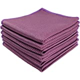 HIDMD Microfibre Cleaning Cloths Microfiber Lint free Cloths Towels Polishing Cloths for Dishes Glasses Car Windows Mirrors Screen TV Tablets Camera 30CM X 30CM 6 PACK Purple
