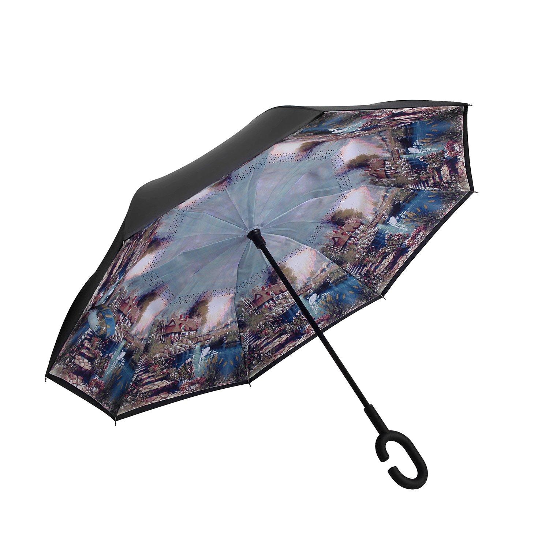 YOUGO Reversion Regenschirm Inverted Umbrella Reverse Folding Double Layer mit C-Form Griff für Auto Outdoor Regenschutz YG-U-002