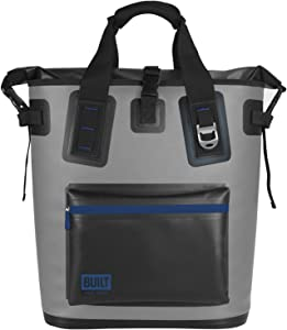 BUILT Welded Soft Cooler Backpack with Wide Mouth Opening - Insulated and Leak-Proof, One Size, Pewter Gray