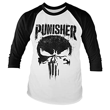 5289f25f08f3 Amazon.com: Marvel Officially Licensed Punisher Big Skull Baseball Long Sleeve  T-Shirt (White/Black): Clothing