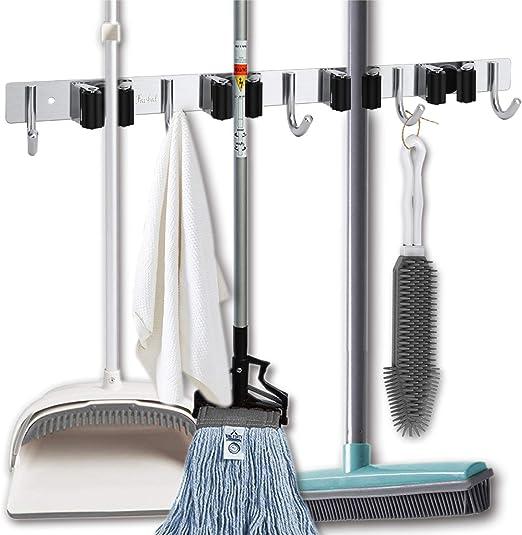 Pstars Wall Mounted Mop Organizer Holder Brush Broom Hanger Storage Rack Kitchen Tool Mop Clip Nail-Free Bathroom Buckle Type Broom Storage Rack