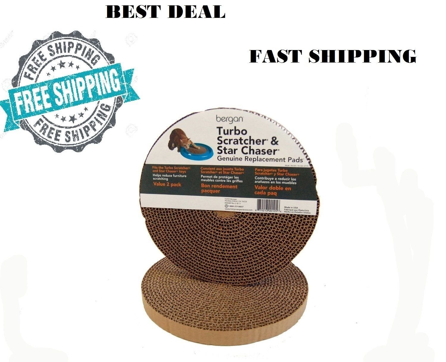 Amazon Com Cat Scratch Scratcher Toy Replacement Nails 2 Pads  # Muebles Fast Food