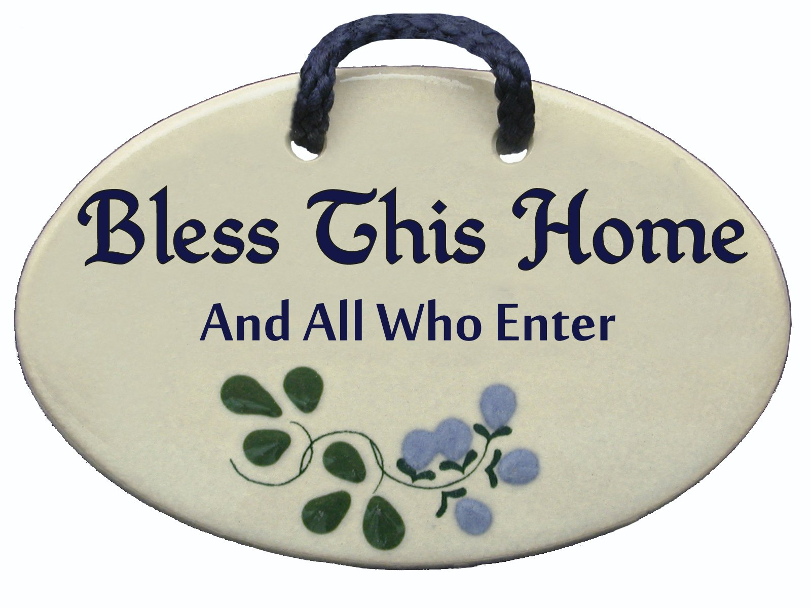 Bless this home and all who enter. Ceramic wall plaques handmade in the USA . Reduced price offsets shipping cost.