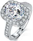 Yellow Chimes A5 Grade Platinum Plated Classic Crystal Adjustable Ring for Women and Girls
