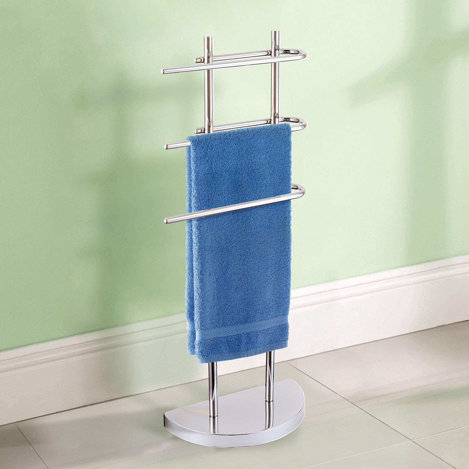 Taylor & Brown® Chrome Floor Standing Towel Stand with 3 U-Shaped