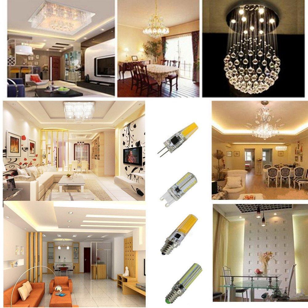 6-Pack OMTO G9 3014 SMD 64 LED Light Bulbs Bi-pin Base Corn Crystal Light Bulbs 4W White 6000-6500K AC 110V 360 Degree Beam Angle Dimming