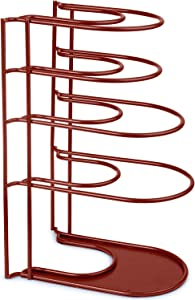 Heavy Duty Pan Organizer, Extra Large 5 Tier Rack - Holds Cast Iron Skillets, Dutch Oven, Griddles - Durable Steel Construction - Space Saving Kitchen Storage - No Assembly Required - Red 15-inch