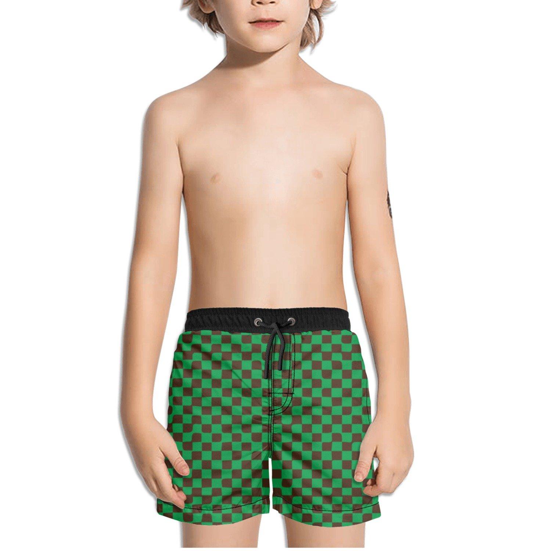 Ouxioaz Boys Swim Trunk Brown Green Checkered Beach Board Shorts