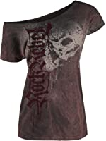 Rock Rebel by EMP Drops Skull Camiseta Mujer burdeos/negro