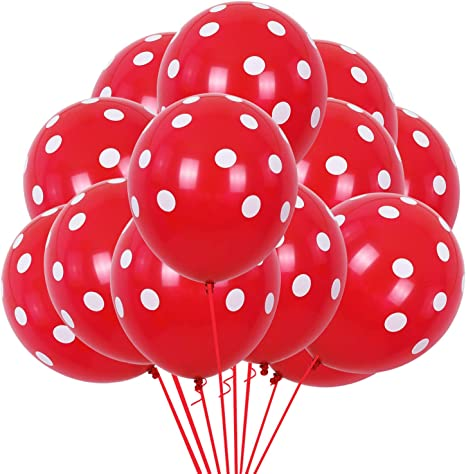 Pack of 28 1 Year Old Party Decor Kit KatchOn First Party Backdrop Kit Large Red Number 1 Red Mylar Balloon 1st Birthday Party Decorations Supplies Light Blue with Polka Dots Latex Balloons White