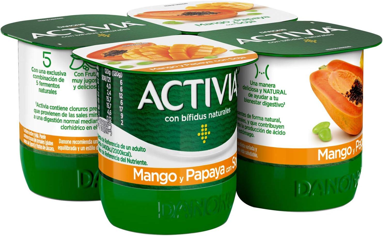 Activia Yogur Mango y Papaya con Soja, 4 x 120g