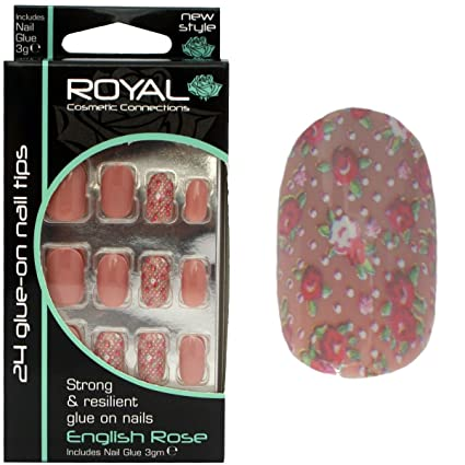 Royal English Rose – Kit 24 uñas postizas beiges & 3 G pegamento – 8 uñas