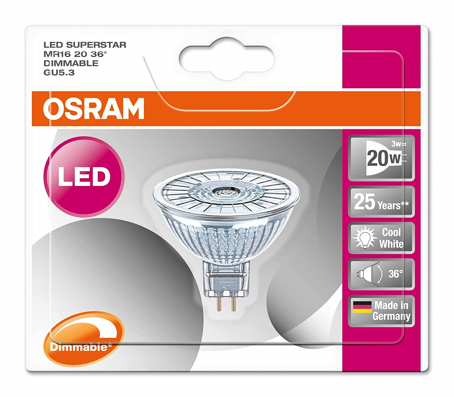 Osram Superstar Mr16 Bombilla LED GU5.3, 7.8 W, Blanco 10 unidades: Amazon.es: Iluminación