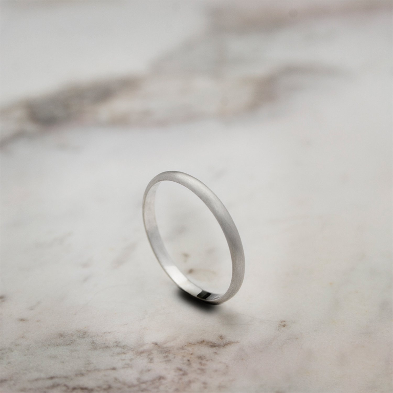 White Gold Wedding Band, 9K, 14K, 18K Gold Ring, Engraved Ring, Satin Finish