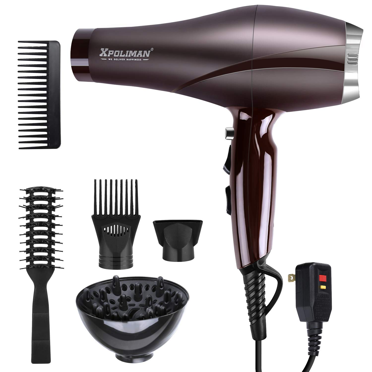 2000 Watt Hair Dryers, Xpoliman Professional Salon Hair Dryer with AC Motor, Negative Ionic Blow Dryer with Diffuser Concentrator Comb, 2 Speed 3 Heat Settings,Low Noise Long Life style-Purple