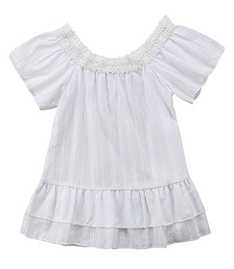 dcf8b1173b42 Amazon.com  Infant Baby Girls Summer Dress White Lace Off Shoulder ...