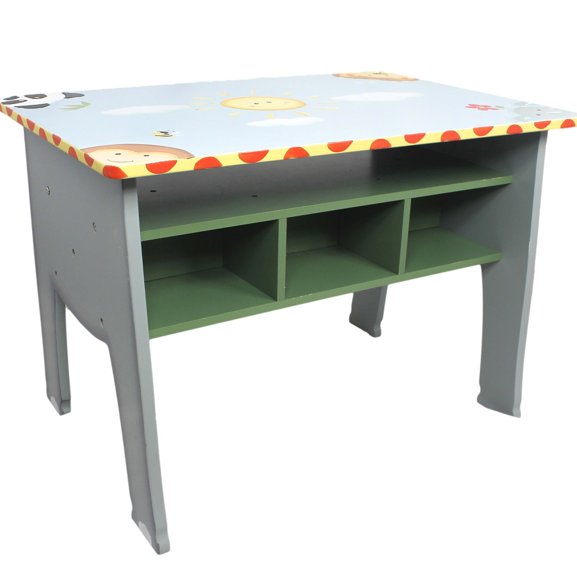 Fantasy Fields - Sunny Safari Animals Thematic Kids Wooden Desk Imagination Inspiring Hand Crafted & Hand Painted Details Non-Toxic, Lead Free Water-based Paint