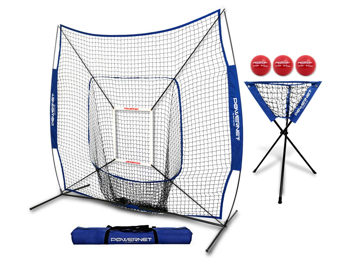 PowerNet DLX Combo 6 Piece Set for Baseball Softball (Royal Blue) | 7x7 Practice Net Bundle w/Strike Zone, Ball Caddy + 3 Weighted Training Balls | Team or Solo Training | Hitting & Throwing