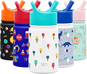 Simple Modern 10oz Summit Kids Water Bottle Thermos with Straw Lid - Dishwasher Safe Vacuum Insulated Double Wall Tumbler Travel Cup 18/8 Stainless Steel Ice Cream Cones