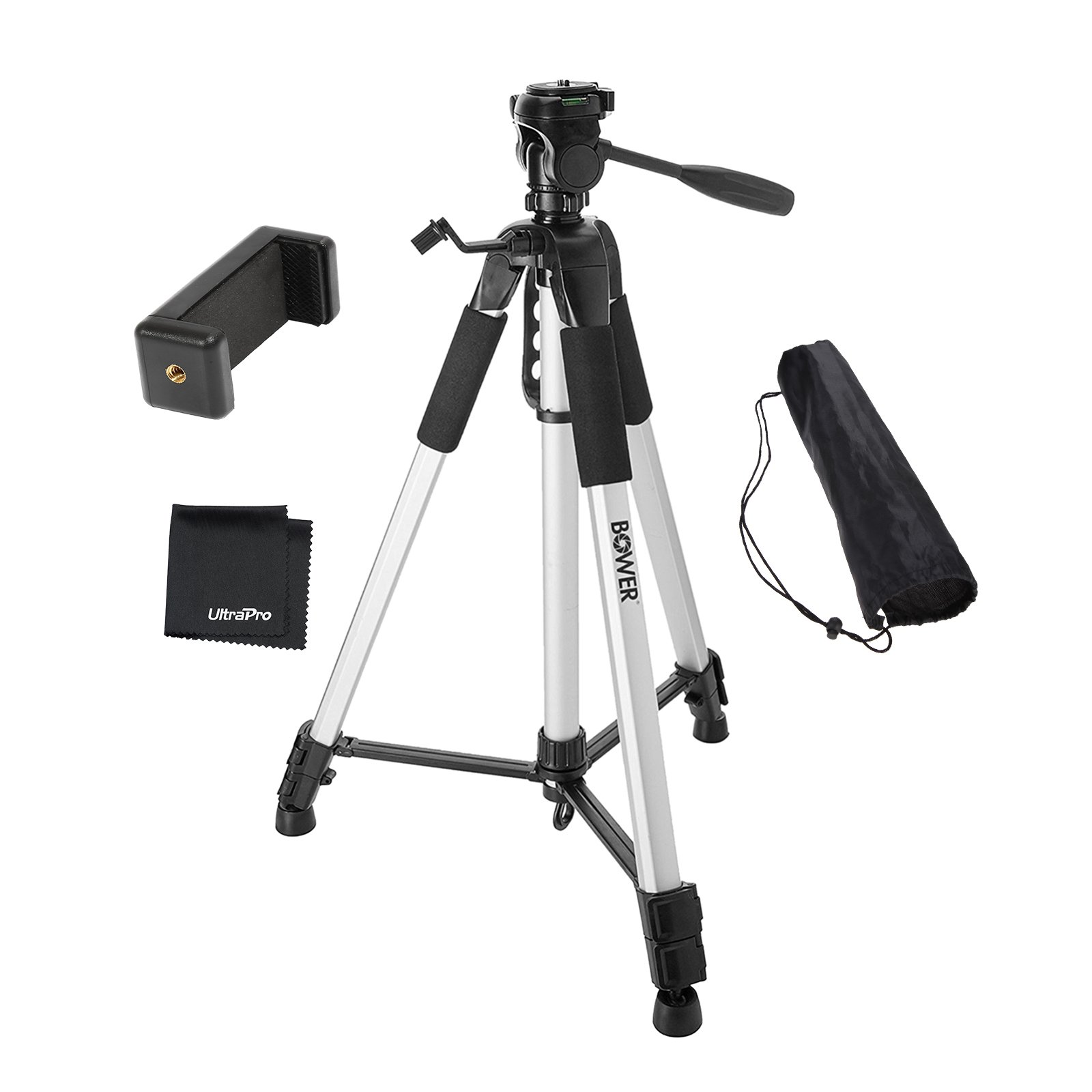 UltraPro 72'' Inch Heavy-Duty Aluminum Camera Tripod with Universal Smartphone Mount for iPhone, Samsung, and All Smartphones, Includes UltraPro Bonus Microfiber Cleaning Cloth by UltraPro