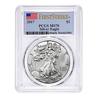 W $1 American Silver Eagle PCGS MS70 First Strike Flag Label 2020