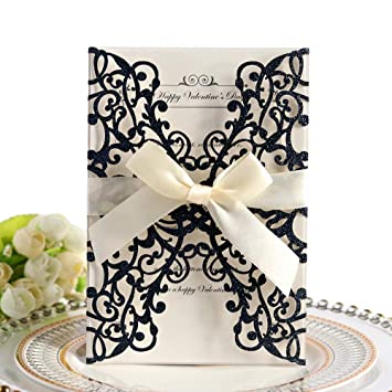 Wedding Invitation Cards 10pcs Hollow Floral Design Invites Card With Ribbon Best For Bridal Showers