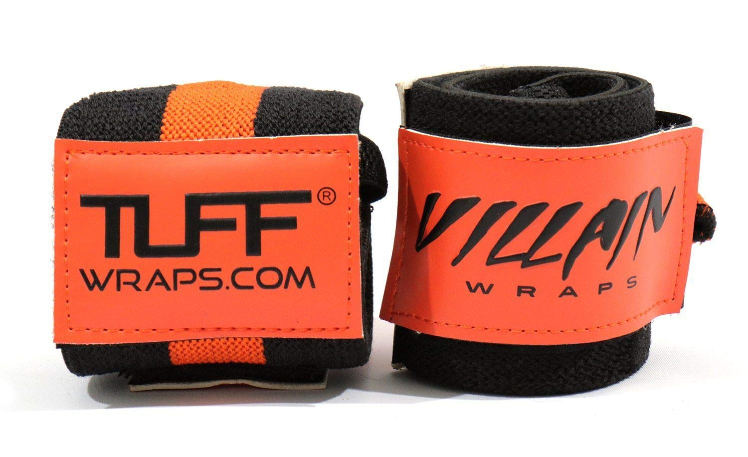 Villain Wrist Wraps 16'' for Powerlifting, Weightlifting, Strongman Training, Crossfit - Never Fuss with Thumb Loops Again - 30 Day Guarantee - (Black/Orangel, 16 Inches)