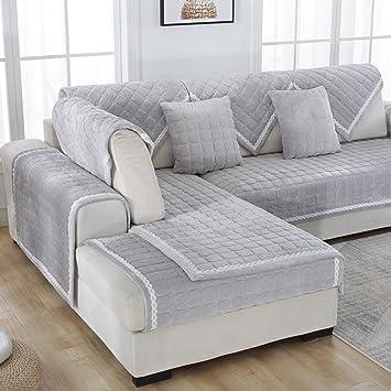 KFHIWUEHPJHD Sofá de Felpa Color sólido slipcover,Cubierta del sofá Moderno y Simple de la Tela para Toalla sofá salón Franela Grueso Terciopelo-B ...