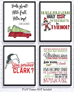 Silly Goose Gifts Funny Christmas Movie Wall Art Mix Sign (Set of 4) 8x10in Humorous Decoration Decor (Red)