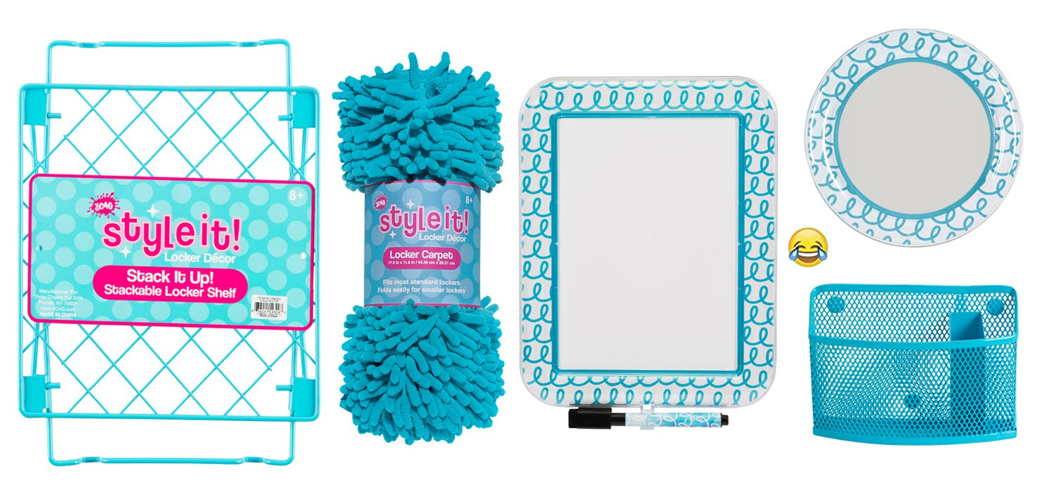 Deluxe School Locker Organizer Kit - Accessories and Decoration Set with Shelf, Rug, Mirror, Message Board and Bin (Aqua Scribble)