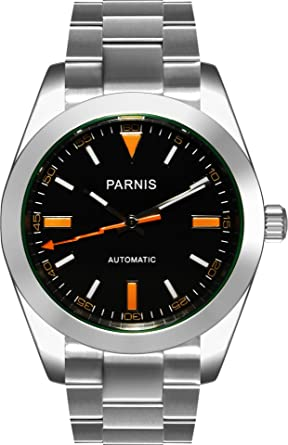 PARNIS 2095 deportivo 39 mm de Hombre Automático Reloj Marca Reloj de pulsera de cristal de zafiro Caja de acero inoxidable 316L y 5 bar impermeable: ...