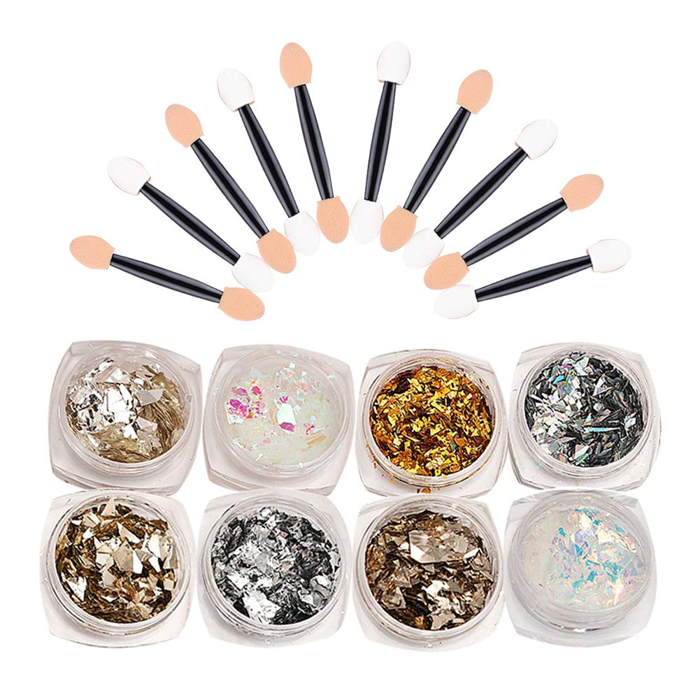 NICOLE DIARY Holographic Glitter Nail Flakes Irregular Candy Colors Sequins Manicure Nail Art Decoration (8 colors) with Double-ended Eyeshadow Stick Sponge Nail Powder Brush