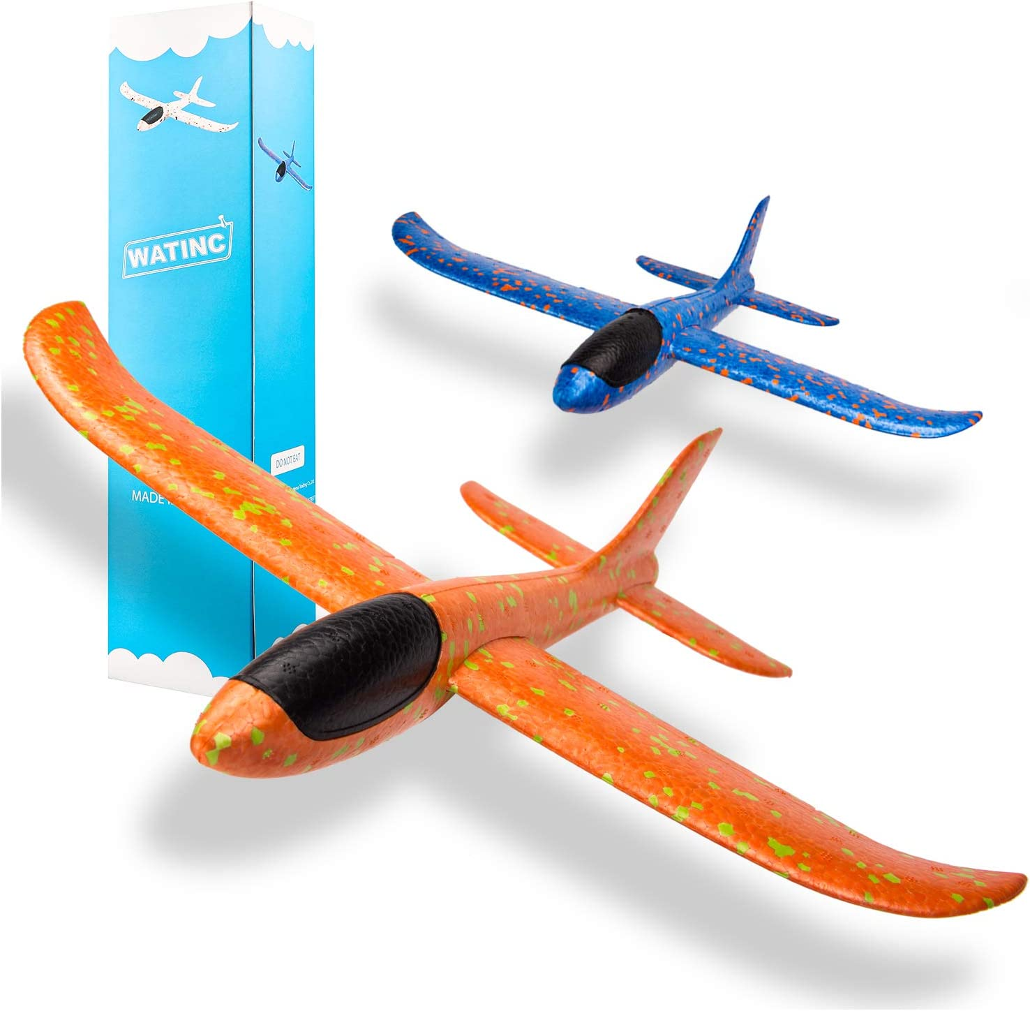 WATINC 2pcs 13.5inch Airplane, Manual Throwing, Fun, challenging, Outdoor Sports Toy, Model Foam Airplane, Blue & Orange Airplane (WT-Airplane 2Pcs)