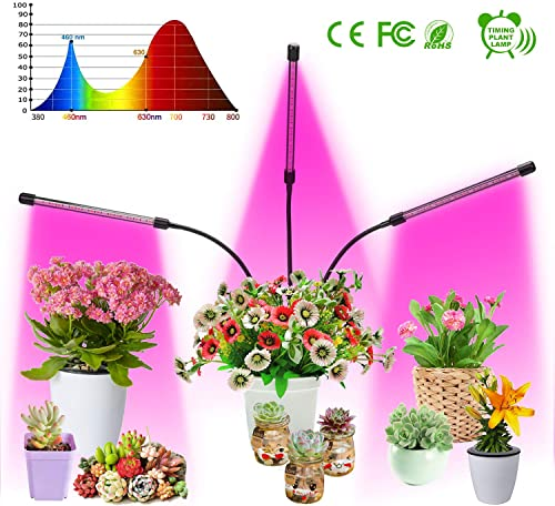LED Grow Light, LED Grow Lamp Bulbs Plant Lights Full Spectrum, Auto ON Off with 3 6 12H Timer 5 Dimmable Levels Clip-On Desk Grow Lamp, Triple Head Adjustable Gooseneck for Indoor Plants