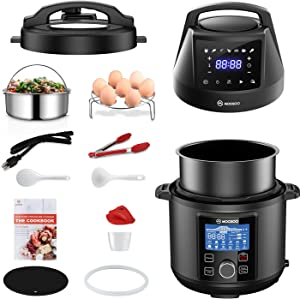 MOOSOO Pressure Cooker & Air Fryer Combos, 6 Qt Multi-Cooker with Large LCD Panel, Instant Stainless Steel Pot, Air Fryer, Slow Cooker, Saute, Yogurt Maker, Warmer, Recipes, 11+ Accessories