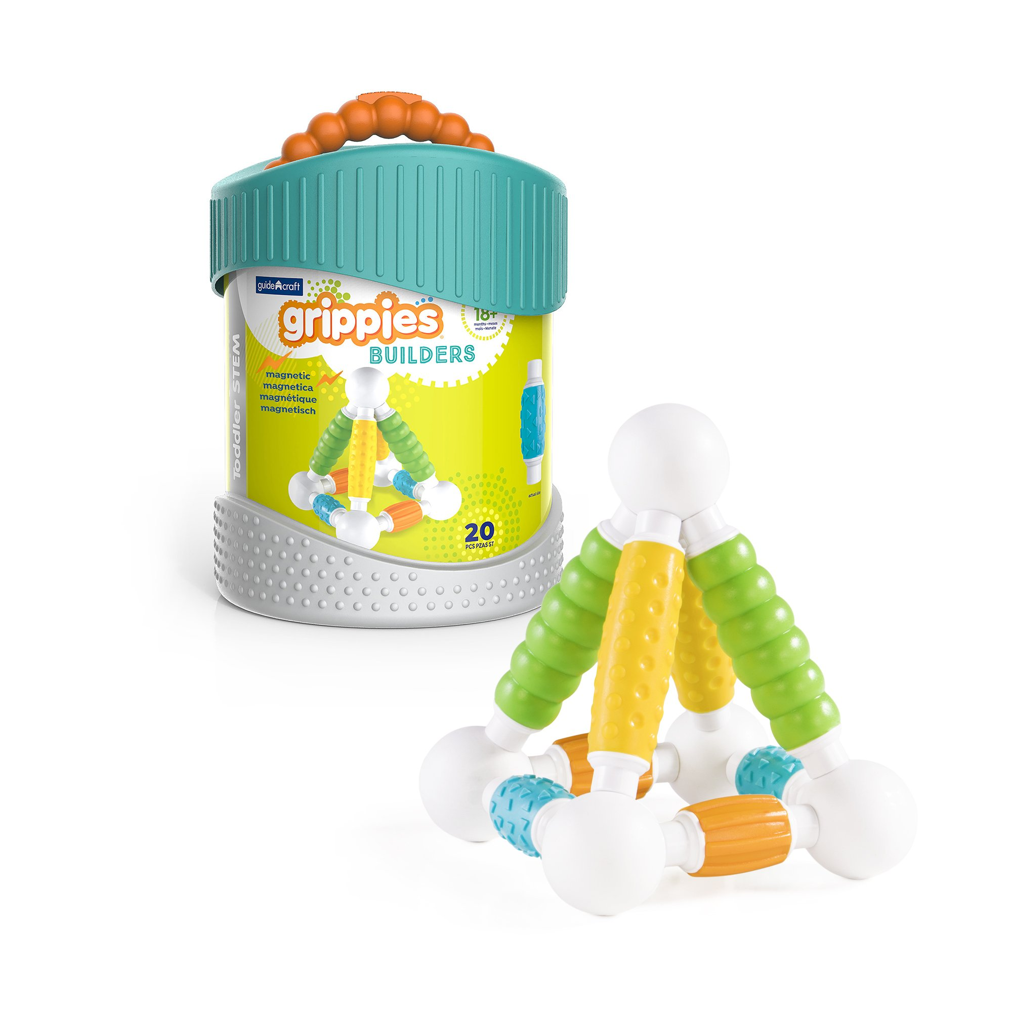 Guidecraft Grippies Builders - 20 Piece Set, Tactile STEM Soft Grip Magnetic Building Toy for Toddlers
