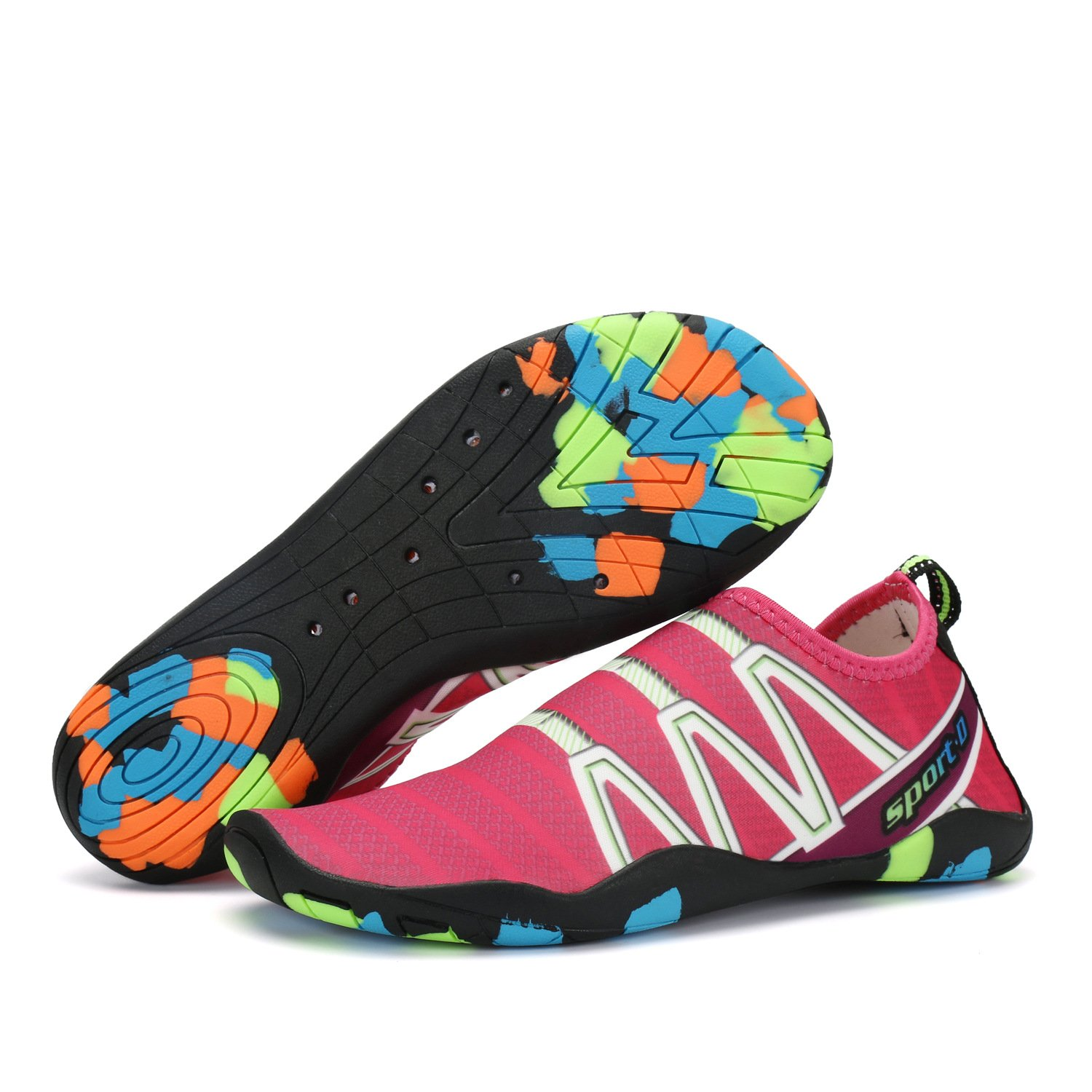 OctiveMe Women's Barefoot Water Shoes,Quick-Dry Aqua Sport Shoes(6 B (M) US, Rose red)
