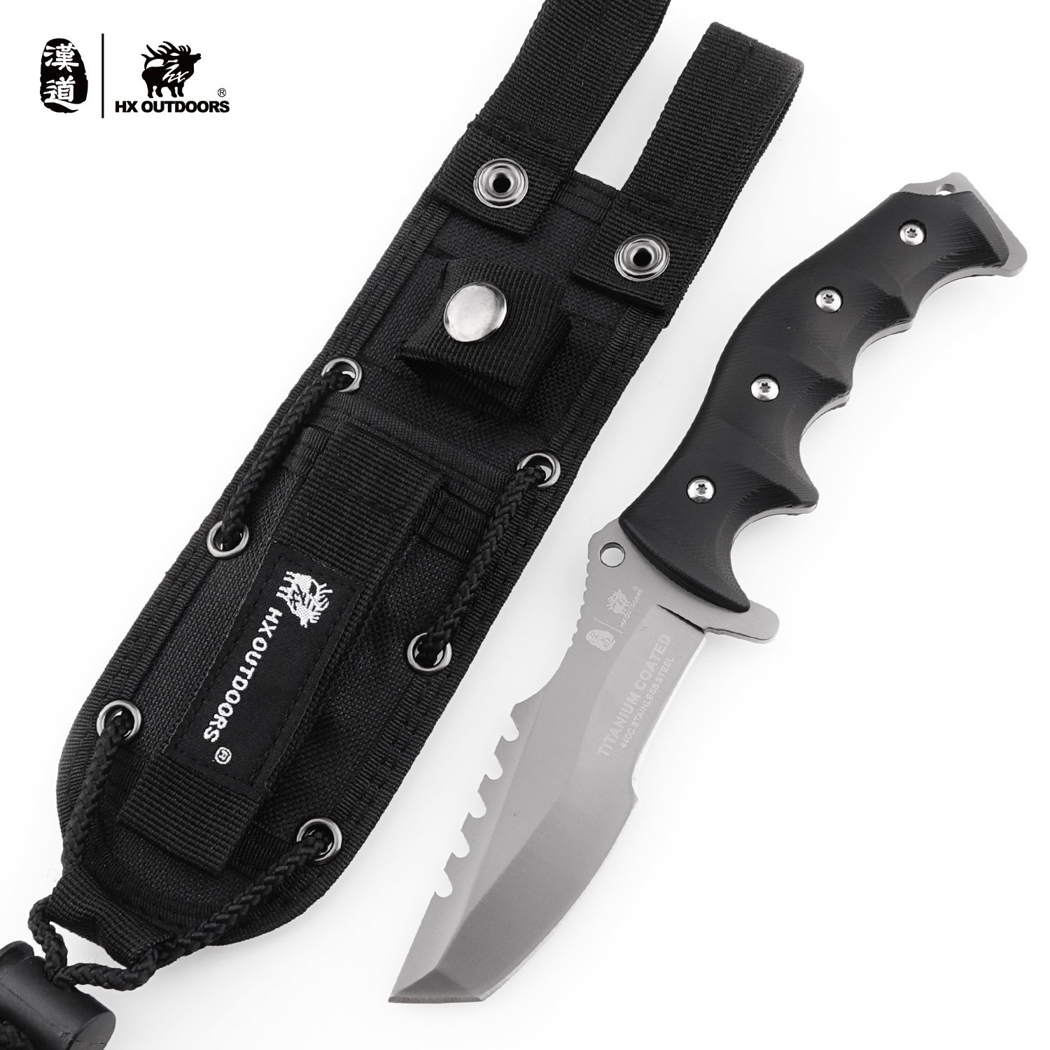 HX OUTDOORS Army Survival Tactical Knife Outdoor Tool Fixed-Blade Knives Camping Hiking Tools (Seal)