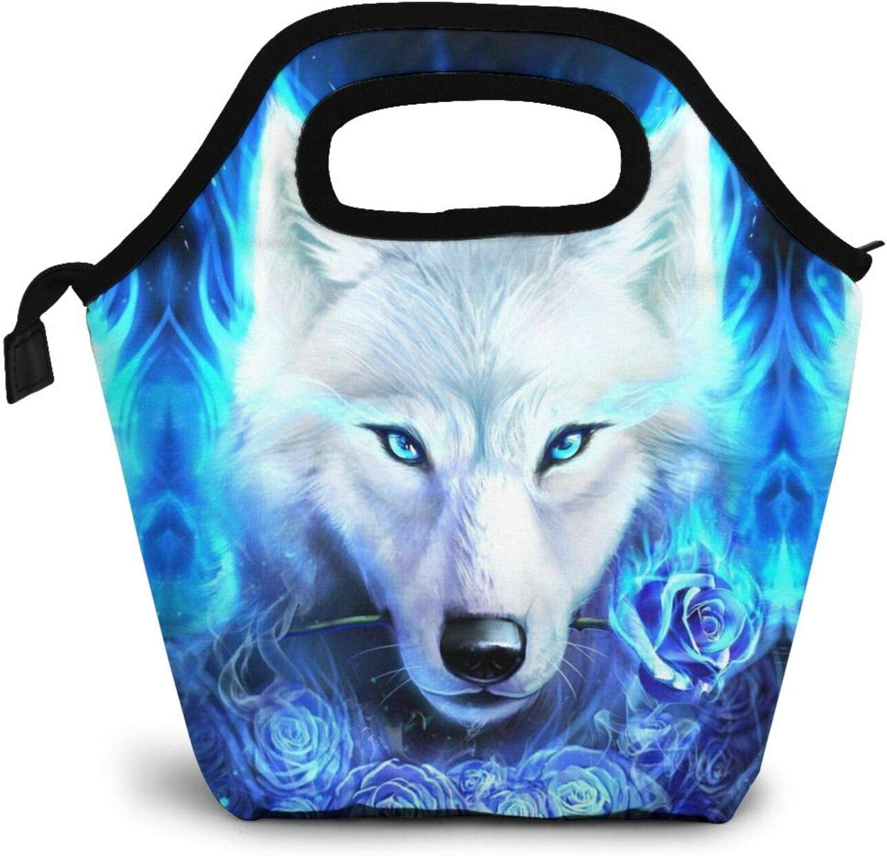 Wolf Lunch Bag Insulated Lunch Tote Blue Rose Reusable Cooler Bag Handbag Lunchbox Food Container Warm Food Pouch for Boys Girls School Office Work Travel Outdoor Picnic