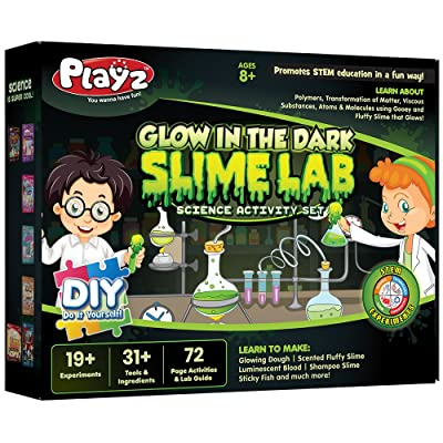 Playz Glow in The Dark Slime Lab Science Kit w/ 19+ Experiments to Make Glowing Dough, Scented Fluffy Slime, Luminescent Blood, Shampoo Slime, & Sticky Fish Through Gooey Science Activities: Toys & Games [5Bkhe0703710]