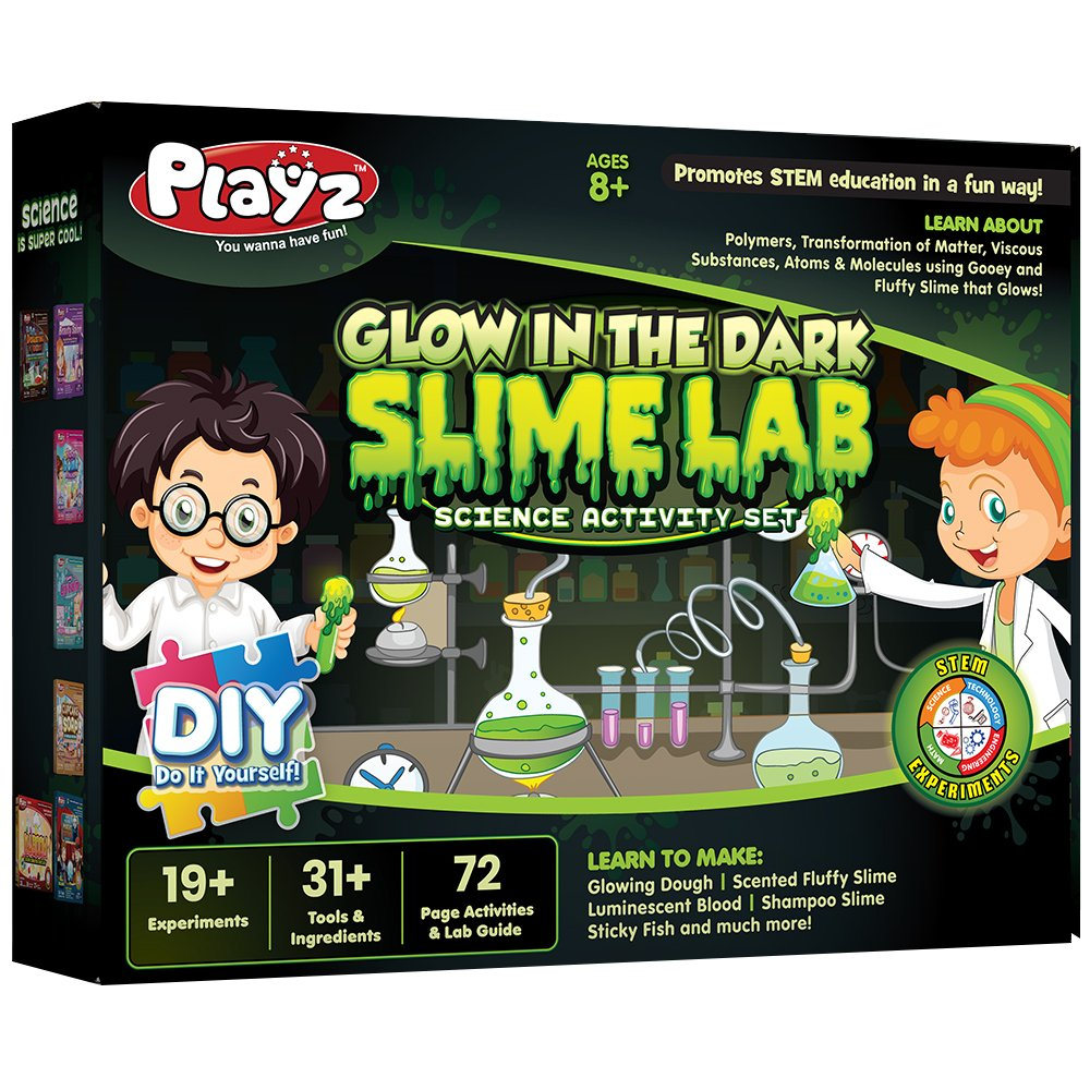 Playz Glow in The Dark Slime Lab Science Kit w/ 19+ Experiments to Make Glowing Dough, Scented Fluffy Slime, Luminescent Blood, Shampoo Slime, & Sticky Fish Through Gooey Science Activities by Playz