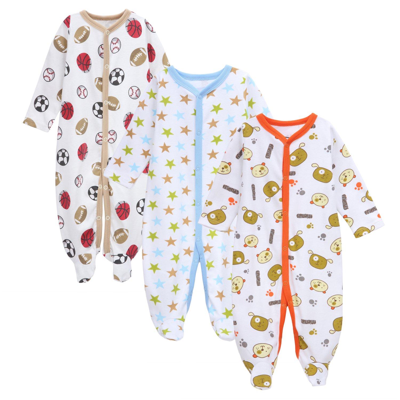 Babe Maps Baby Boy Sleep N' Play Sleepers 3 Pack Onesies Bodysuit