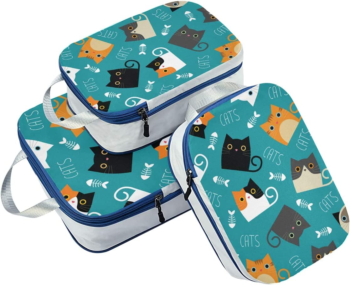 Funny Kitten 3 Set Packing Cubes,2 Various Sizes Travel Luggage Packing Organizers f