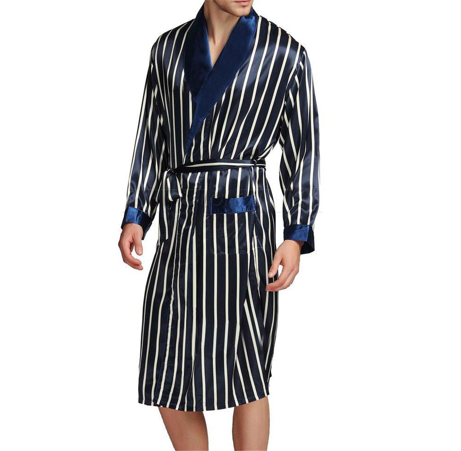 Orcan Bluce Mens Silk Satin Pajamas Sleepwear Robes Nightgown Robes S M L XL 2XL 3XL Plus Beige Blue Striped Navy Blue XXXL by Orcan Bluce