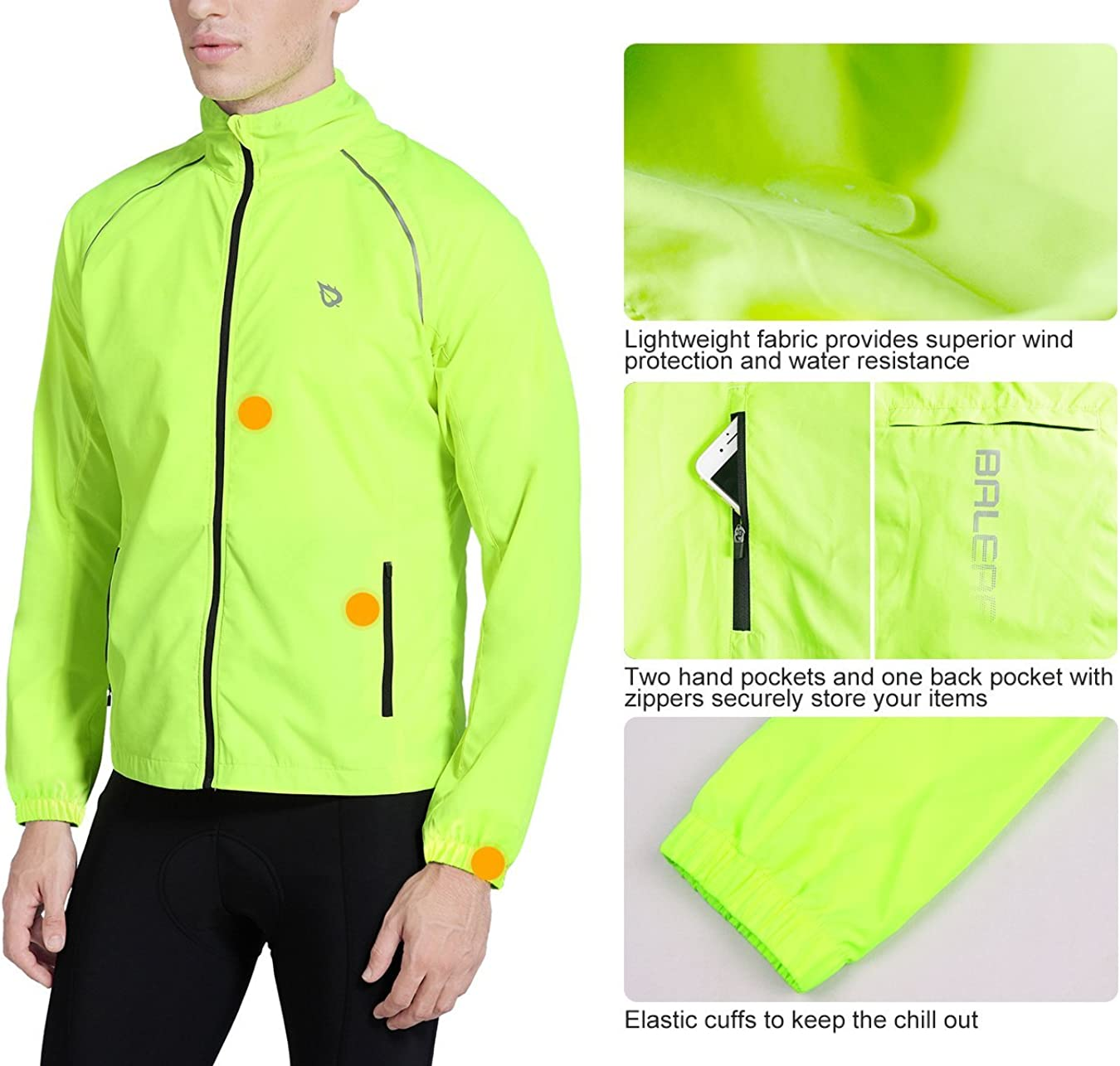 BALEAF Mens Cycling Running Jacket Windproof Windbreaker Breathable Coat