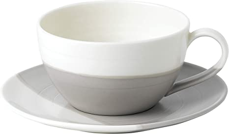 Amazon Com Royal Doulton Coffee Studio Cup Saucer Set 15 Oz Latte Cup And Saucer Grey And Off White Cup Saucer Sets