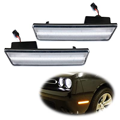 iJDMTOY Clear Lens Amber LED Front Side Marker Lamps Compatible with 08-14 Dodge Challenger, Clear LH RH Sidemarkers Powered by 24 Amber SMD LED Lights: Automotive