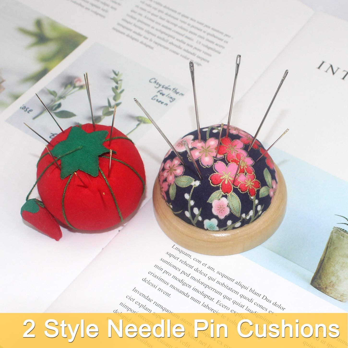 Chistepper 2 Pieces Needle Pin Cushions Wooden Base Tomato Shape Pincushions Needle Pincushions for Sewing or DIY Crafts