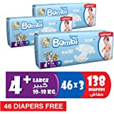 Sanita Bambi Baby Diaper Giant pack, Large+, 10-18kg (92+46 free) Count